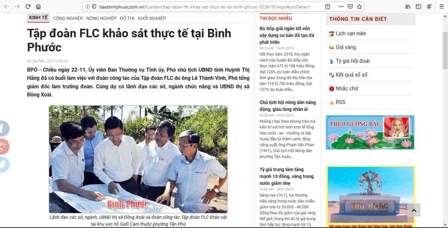 Tập đoàn FLC khảo sát thực tế và gặp gỡ lãnh đảo Bình Phước.