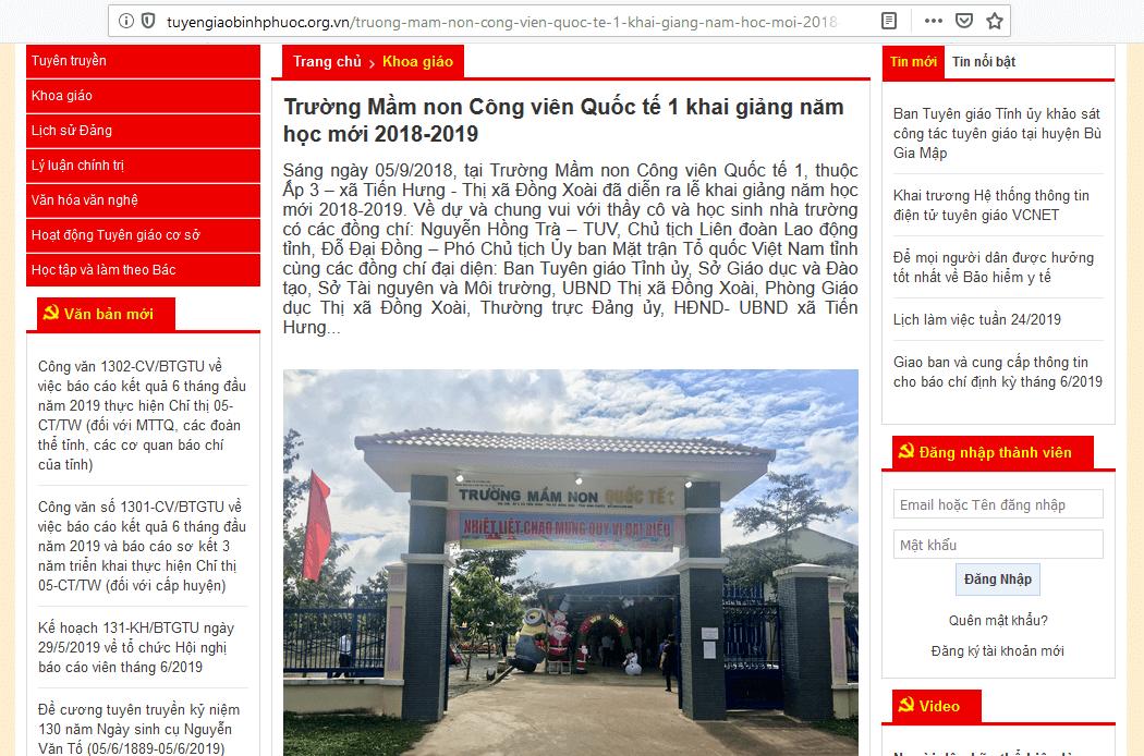 Trường mầm non Quốc Tế 1 đã hoạt động tại Tiến Hưng - TP Đồng Xoài.