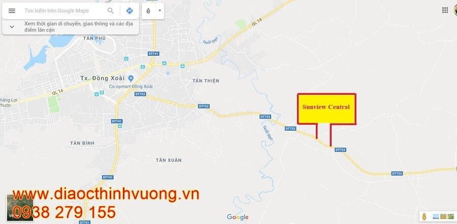 Vị trí thực tế trên google map dự án Sunview Central