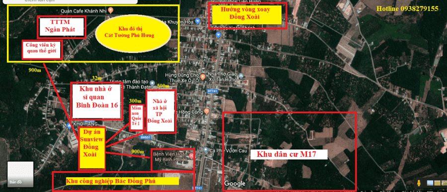 Dự án Sunview Đồng Xoài và các khu dân cư xung quanh Tiến Hưng - TP Đồng Xoài.