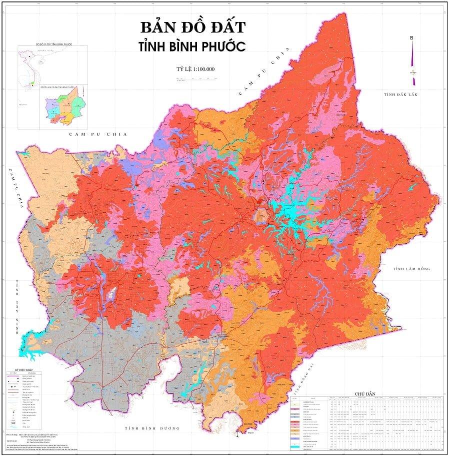 Bản đồ phân bố đất tỉnh Bình Phước
