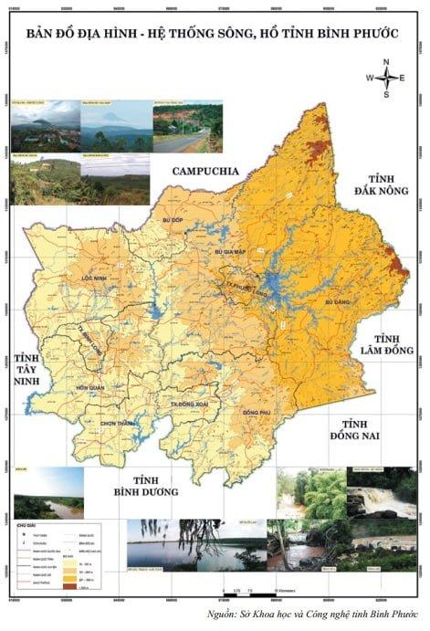 Bản đồ địa hình - hệ thống sông, hồ tỉnh Bình Phước