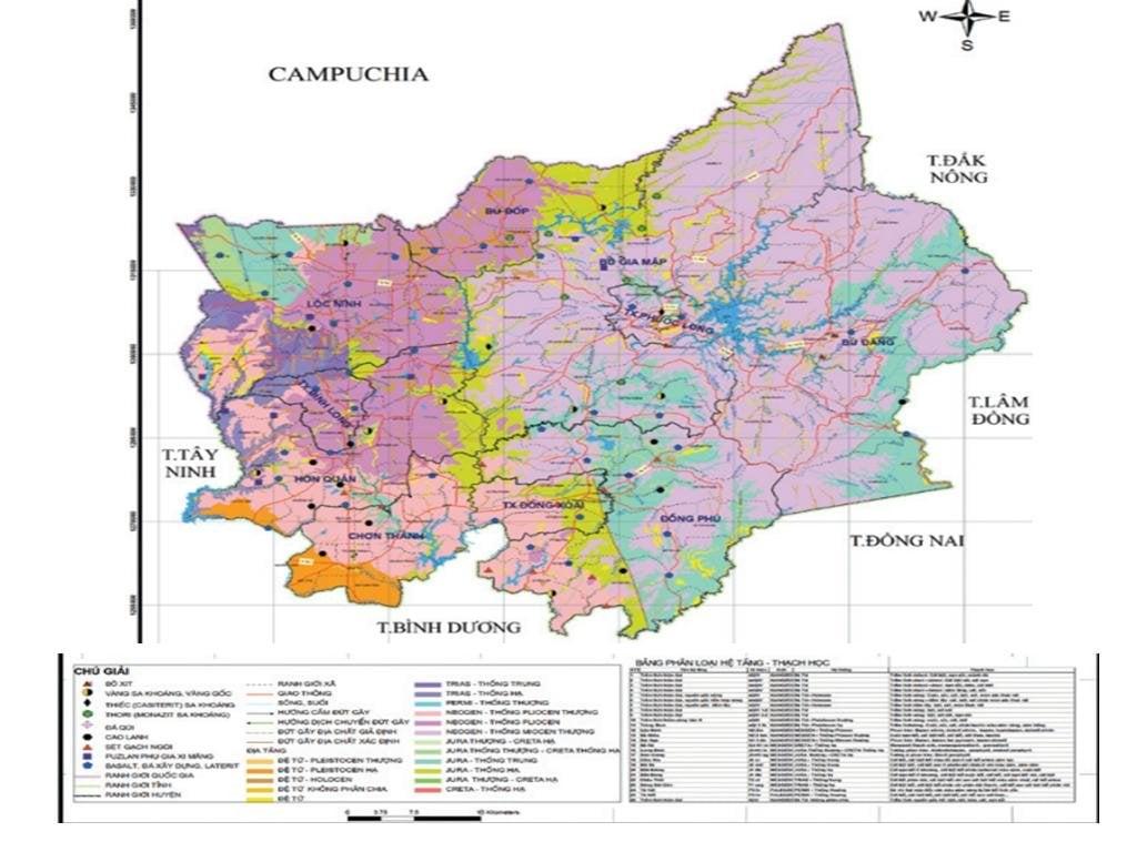 Bản đồ tài nguyên khoáng sản tỉnh Bình Phước