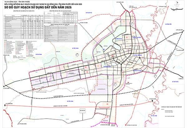 Sơ đồ quy hoạch sử dụng đất đến năm 2025 của thành phố Đồng Xoài