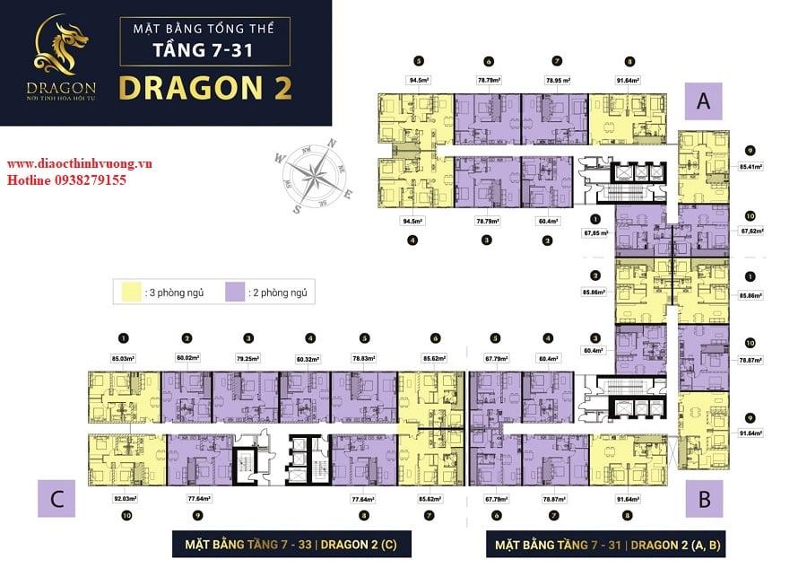 Mặt bằng tầng block Dragon 2 dự án Topaz Elite