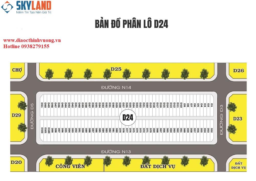 Mặt bằng phân lô D24 dự án Khu đô thị Bàu Bàng