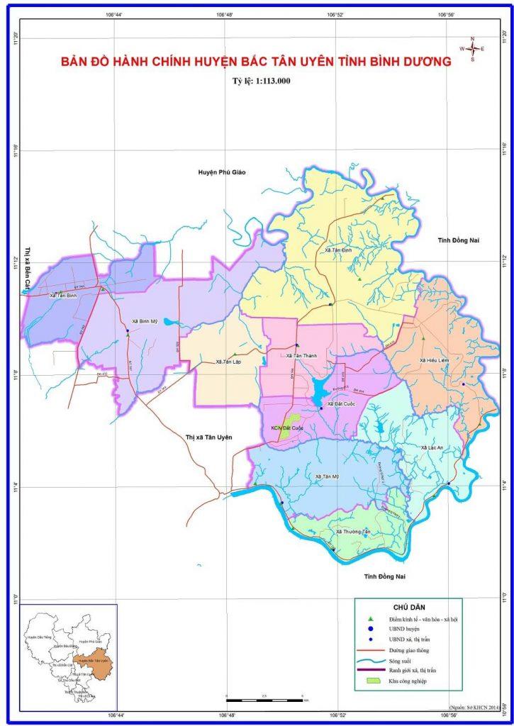 Bản đồ hành chính huyện Bắc Tân Uyên