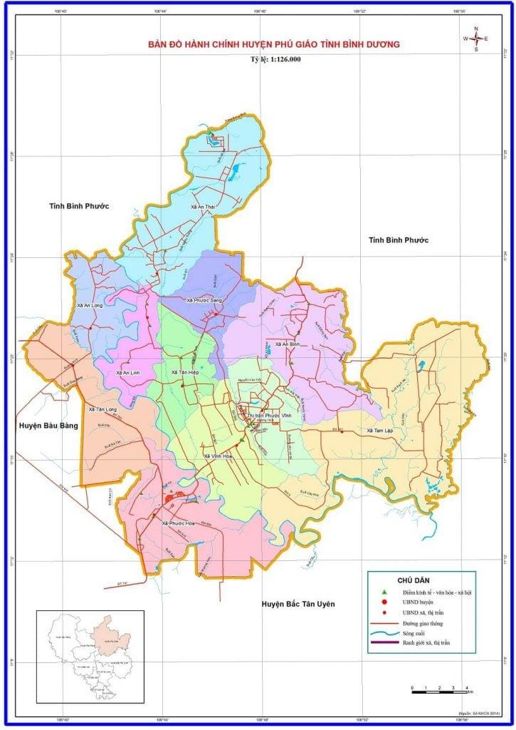 Bản đồ hành chính huyện Phú Giáo