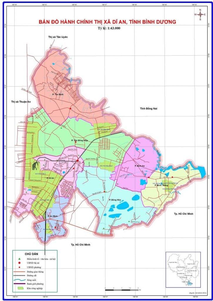 Bản đồ hành chính thị xã Dĩ An