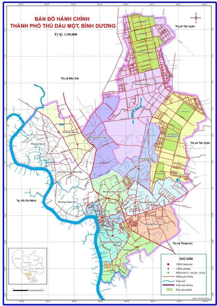 Bản đồ hành chính TP Thủ Dầu Một