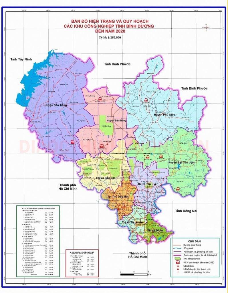 Bản đồ hiện trạng & quy hoạch các khu công nghiệp tỉnh Bình Dương đến năm 2020