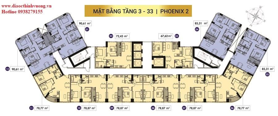Mặt bằng tầng block Phoenix 2 dự án Topaz Elite