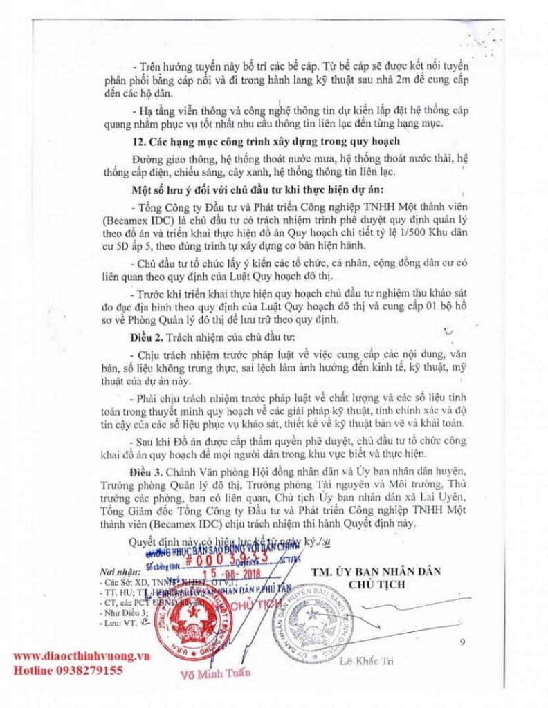 Quy hoạch 1/500 của Khu đô thị Bàu Bàng.