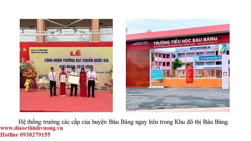 Hệ thống trường học các cấp đều nằm bên trong khu đô thị Bàu Bàng