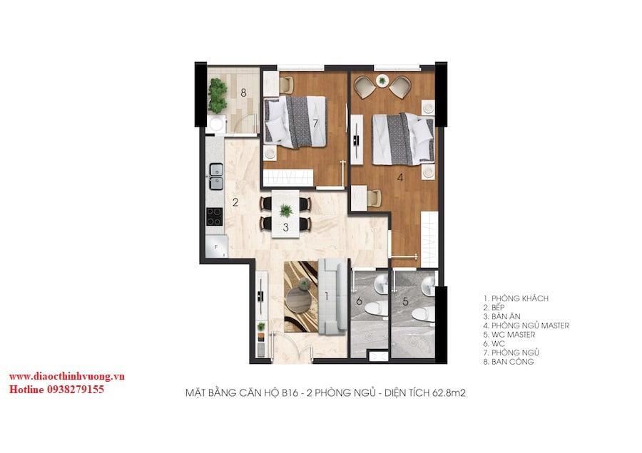Căn hộ 2 phòng ngủ, 2WC  tại Citrine Apartment