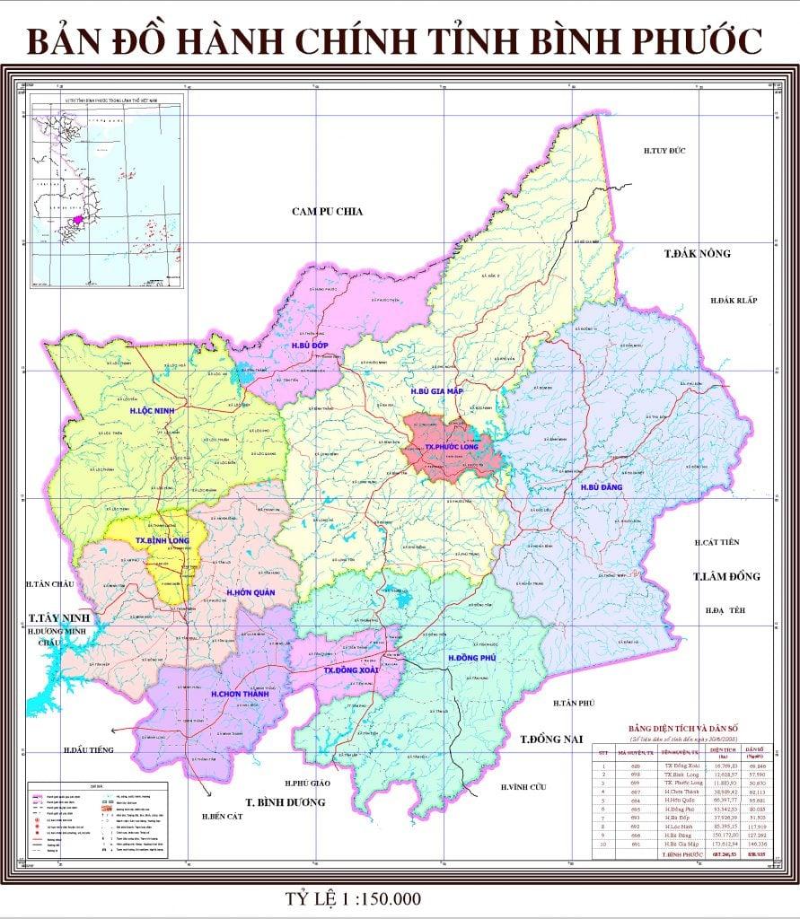 Bản đồ hành chính tỉnh Bình Phước (cũ) - Tỷ lệ 1:150.000