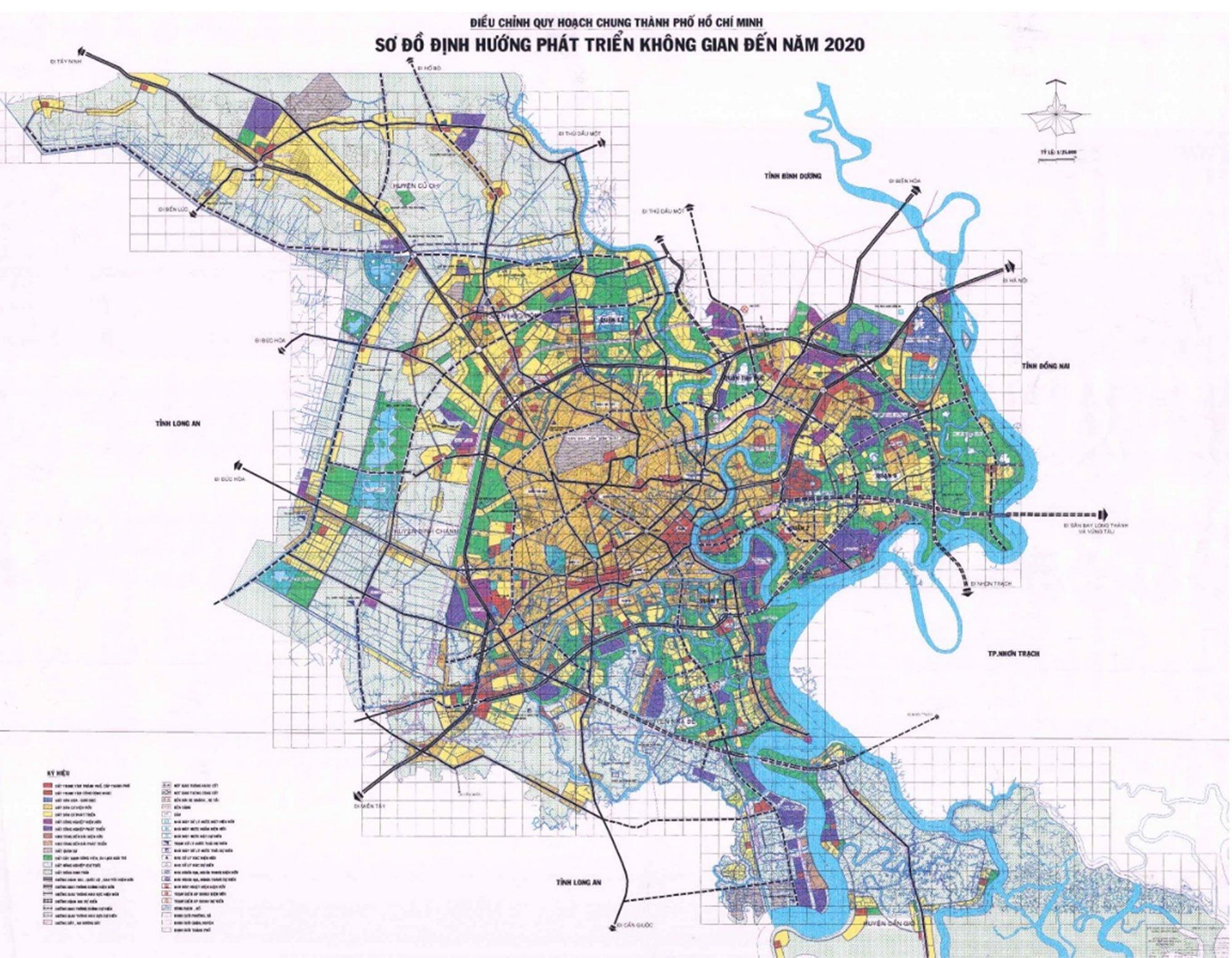 Sơ đồ định hướng phát triển không gian Tp. Hồ Chí Minh đến năm 2020