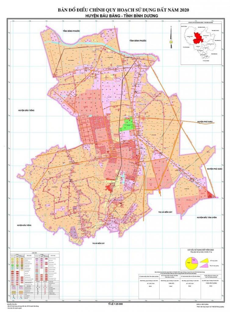 Bản đồ điều chỉnh quy hoạch sử dụng đất đến năm 2020 của huyện Bàu Bàng