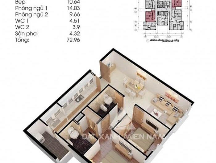 Căn hộ 73 m2 của Topaz City