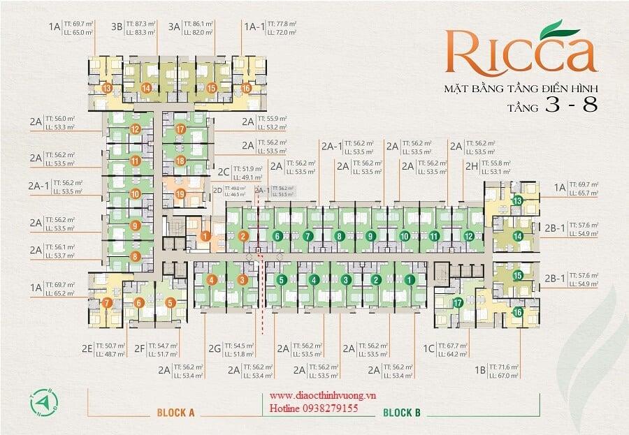Mặt bằng tầng Ricca tầng 3 đến tầng 8