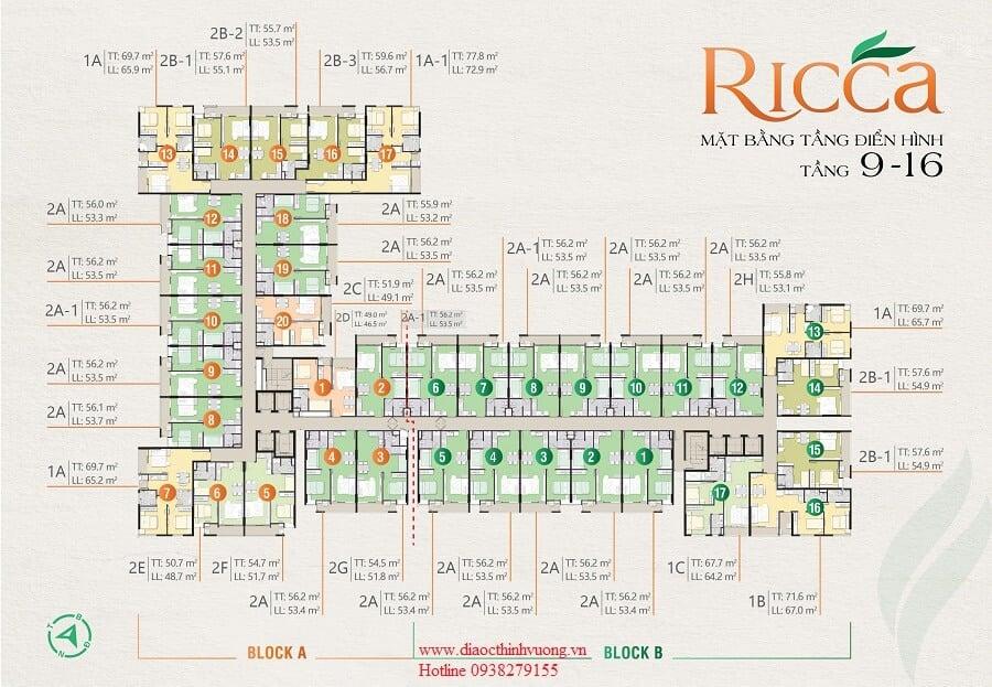 Mặt bằng tầng Ricca tầng 9 đến tầng 16