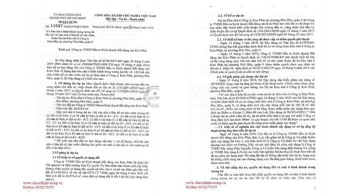 Văn bản của Sở Xây Dựng về đủ điều kiện bán hàng của dự án Verosa Park