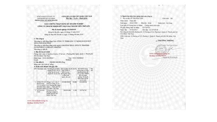 Giấy phép đăng ký kinh doanh của công ty Kim Phát