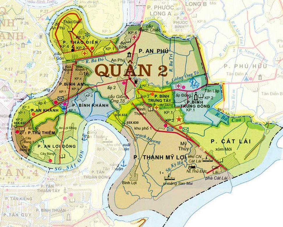 Bản đồ các phường Quận 2