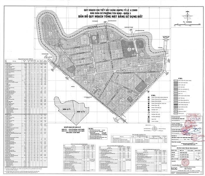 Bản đồ quy hoạch sử dụng đất phường Tân Định - Tỉ lệ 1:2000
