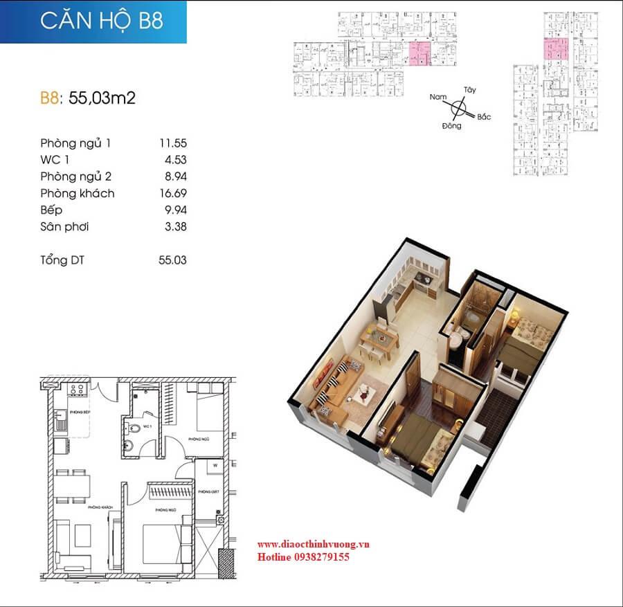 Căn hộ 55 m2 tại Topaz City
