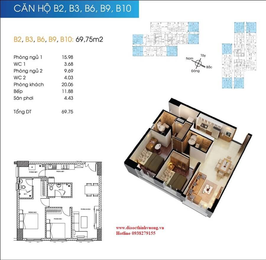 Căn hộ 69 m2 của Topaz City