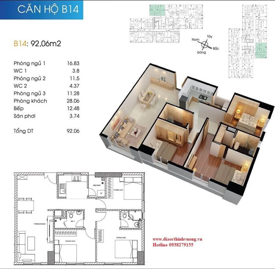 Căn hộ 3PN diện tích 92 m2 của Topaz City