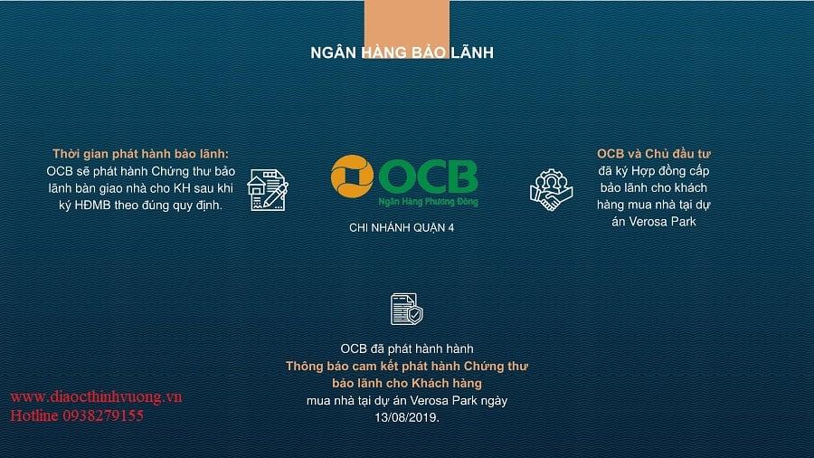Ngân hàng OCB là ngân hàng bảo lãnh dự án Verosa Park