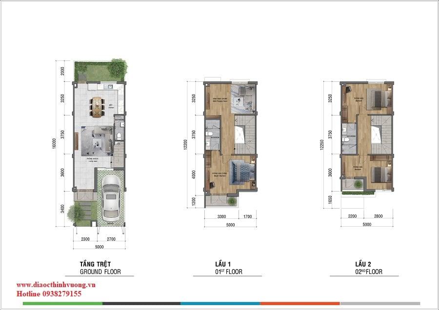 Thiết kế nhà liên kế sân vườn 5x16