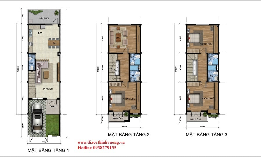Thiết kế nhà liên kế sân vườn 5x20
