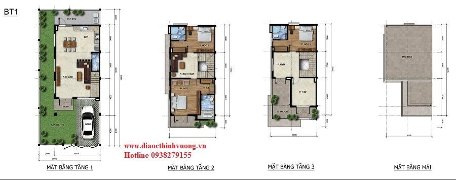 Thiết kế biệt thự 8x18 dự án Verosa Khang Điền