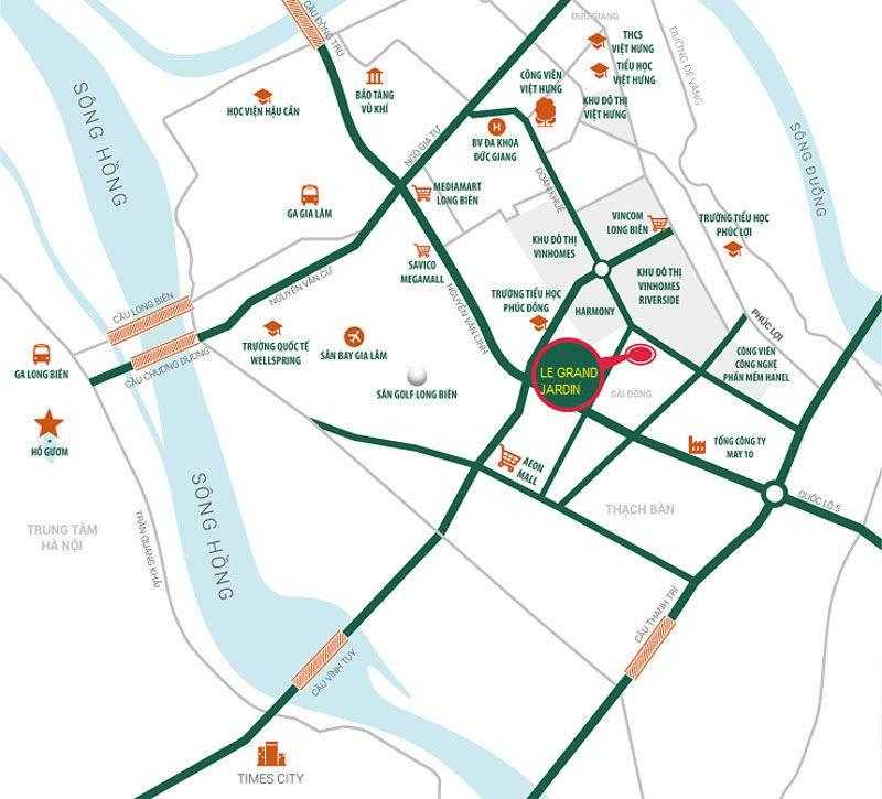 Vị trí dự án Le Grand Jardin Sài Đồng
