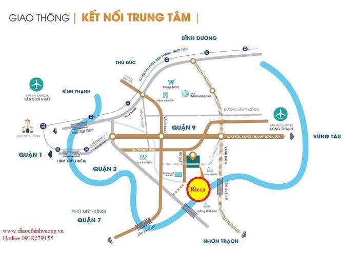 Vị trí căn hộ Ricca nằm giữa 2 đường vành đai quan trọng của TP Hồ Chí Minh.