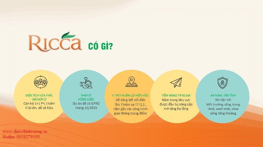 Các yếu tốt cốt lõi của căn hộ Ricca