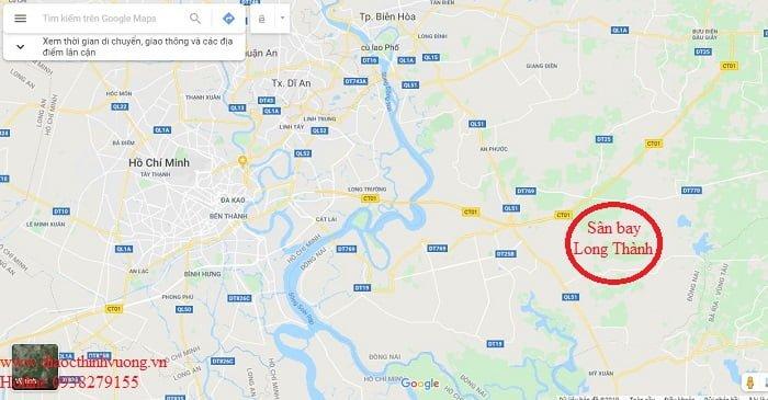 Vị trí sân bay trên google map