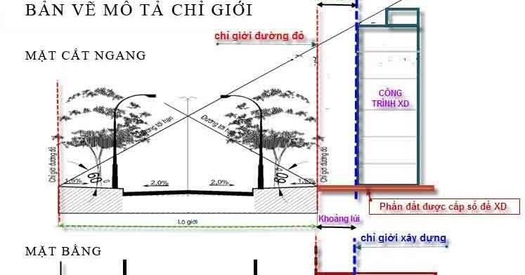 Mặt bằng cắt ngang công trình xây dựng và những chỉ số liên quan đến lộ giới