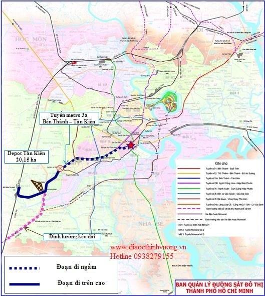 Lộ trình tuyến Metro 3a từ Bến Thành đến Tân Kiên