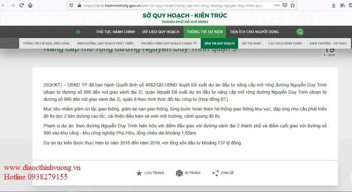 Thông báo của Sở Quy Hoạch - Kiến Trúc TP Hồ Chí Minh