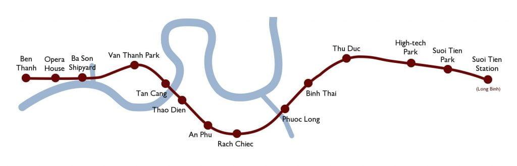 Tuyến Metro số 1 là từ chợ Bến Thành - KDL Suối Tiên