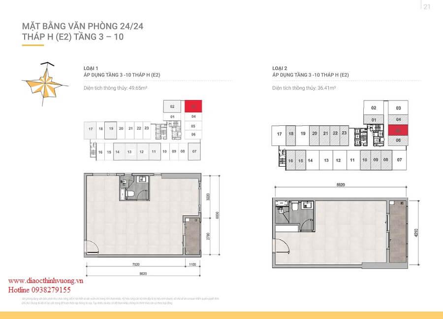 Thiết kế chi tiết của căn hộ văn phòng 24/24 tại Sunrise Riverside