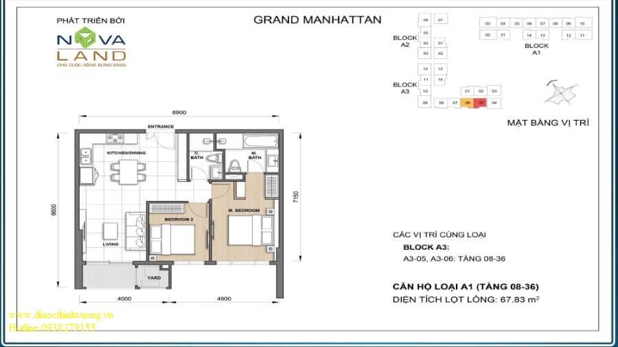 Thiết kế căn 2PN 67,83 m2
