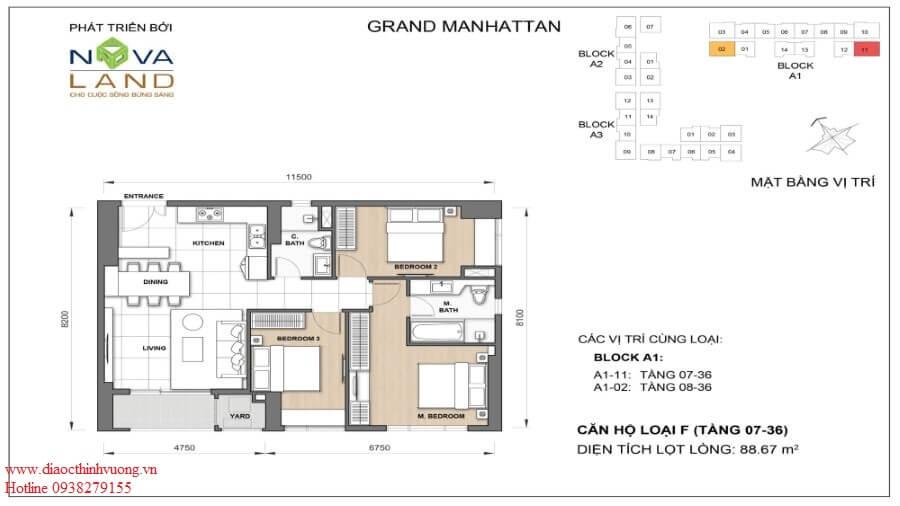 Thiết kế căn 3PN  88,67 m2
