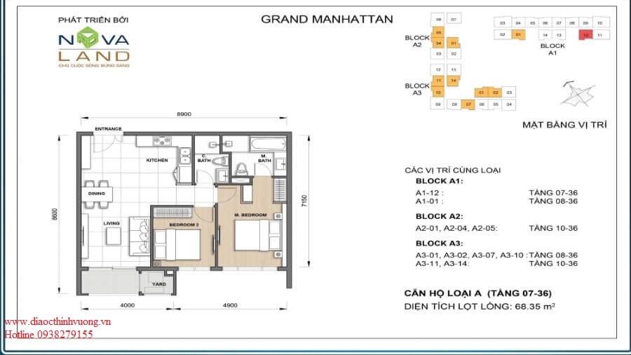 Thiết kế căn 2PN 68,36 m2