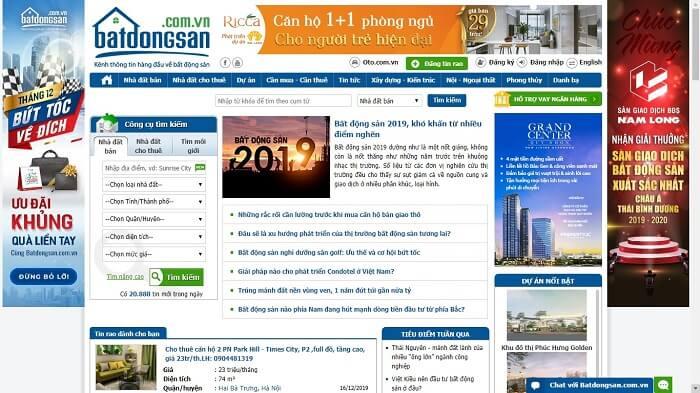 Batdongsan.com.vn là một trong những website uy tín trong lĩnh vực BĐS