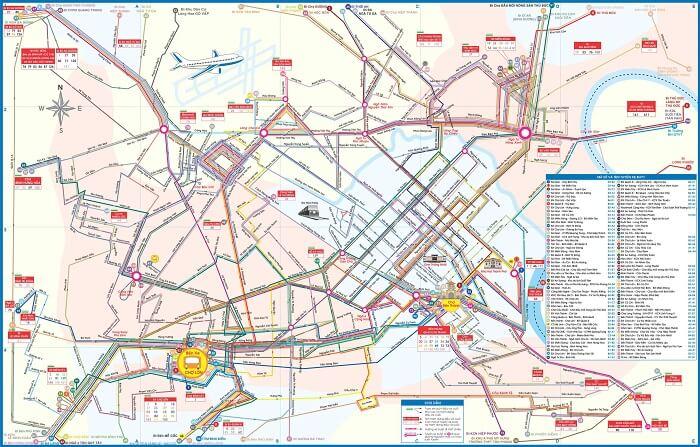 Bản đồ các tuyến xe buýt TP HCM